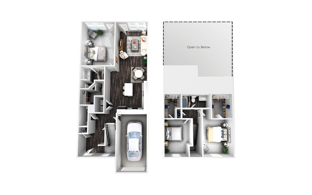 The Arlington - 3 bedroom floorplan layout with 2.5 baths and 1558 square feet.