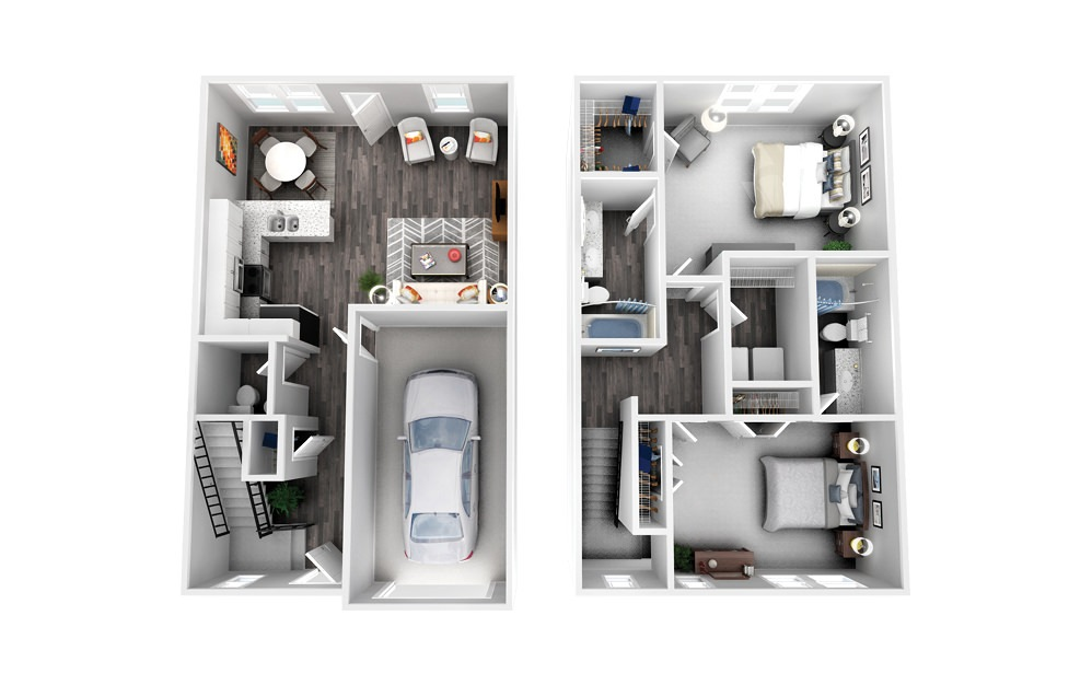 The Bedford - 2 bedroom floorplan layout with 2.5 baths and 1373 square feet.