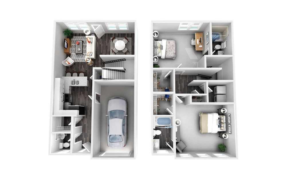 The Providence - 2 bedroom floorplan layout with 2.5 baths and 1373 square feet.